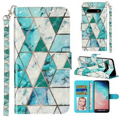 Stitching Marble 3D Leather Phone Holster Wallet Case for Samsung Galaxy S10 (6.1 inch)