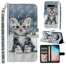 Kitten Cat 3D Leather Phone Holster Wallet Case for Samsung Galaxy S10 (6.1 inch)