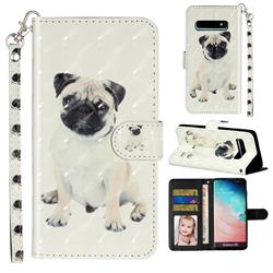 Pug Dog 3D Leather Phone Holster Wallet Case for Samsung Galaxy S10 (6.1 inch)