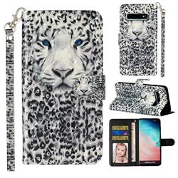 White Leopard 3D Leather Phone Holster Wallet Case for Samsung Galaxy S10 (6.1 inch)