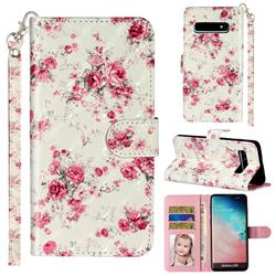 Rambler Rose Flower 3D Leather Phone Holster Wallet Case for Samsung Galaxy S10 (6.1 inch)