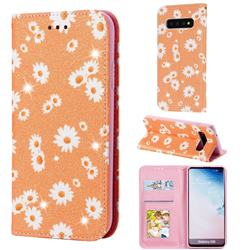 Ultra Slim Daisy Sparkle Glitter Powder Magnetic Leather Wallet Case for Samsung Galaxy S10 (6.1 inch) - Orange