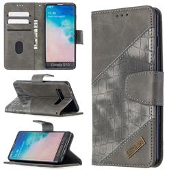 BinfenColor BF04 Color Block Stitching Crocodile Leather Case Cover for Samsung Galaxy S10 (6.1 inch) - Gray