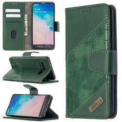 BinfenColor BF04 Color Block Stitching Crocodile Leather Case Cover for Samsung Galaxy S10 (6.1 inch) - Green