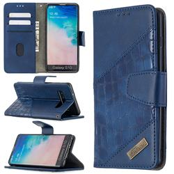 BinfenColor BF04 Color Block Stitching Crocodile Leather Case Cover for Samsung Galaxy S10 (6.1 inch) - Blue