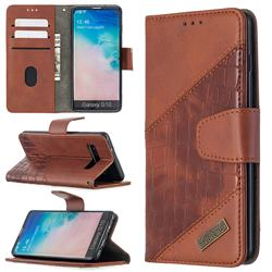BinfenColor BF04 Color Block Stitching Crocodile Leather Case Cover for Samsung Galaxy S10 (6.1 inch) - Brown