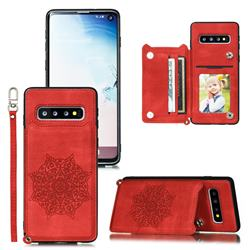 Luxury Mandala Multi-function Magnetic Card Slots Stand Leather Back Cover for Samsung Galaxy S10 (6.1 inch) - Red