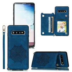 Luxury Mandala Multi-function Magnetic Card Slots Stand Leather Back Cover for Samsung Galaxy S10 (6.1 inch) - Blue