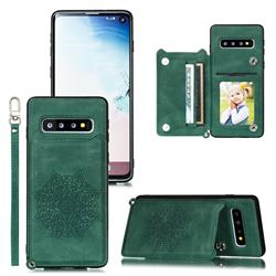 Luxury Mandala Multi-function Magnetic Card Slots Stand Leather Back Cover for Samsung Galaxy S10 (6.1 inch) - Green