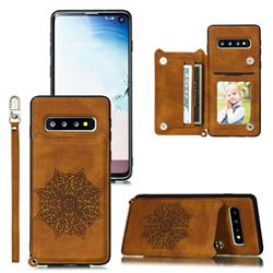 Luxury Mandala Multi-function Magnetic Card Slots Stand Leather Back Cover for Samsung Galaxy S10 (6.1 inch) - Brown