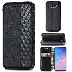 Ultra Slim Fashion Business Card Magnetic Automatic Suction Leather Flip Cover for Samsung Galaxy S10 (6.1 inch) - Black