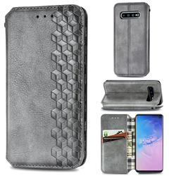Ultra Slim Fashion Business Card Magnetic Automatic Suction Leather Flip Cover for Samsung Galaxy S10 (6.1 inch) - Grey