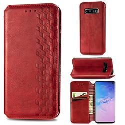 Ultra Slim Fashion Business Card Magnetic Automatic Suction Leather Flip Cover for Samsung Galaxy S10 (6.1 inch) - Red