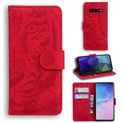 Intricate Embossing Tiger Face Leather Wallet Case for Samsung Galaxy S10 (6.1 inch) - Red