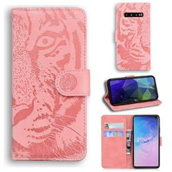 Intricate Embossing Tiger Face Leather Wallet Case for Samsung Galaxy S10 (6.1 inch) - Pink