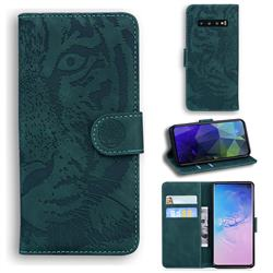 Intricate Embossing Tiger Face Leather Wallet Case for Samsung Galaxy S10 (6.1 inch) - Green