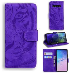 Intricate Embossing Tiger Face Leather Wallet Case for Samsung Galaxy S10 (6.1 inch) - Purple