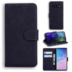 Retro Classic Skin Feel Leather Wallet Phone Case for Samsung Galaxy S10 (6.1 inch) - Black