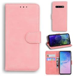 Retro Classic Skin Feel Leather Wallet Phone Case for Samsung Galaxy S10 (6.1 inch) - Pink