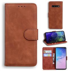 Retro Classic Skin Feel Leather Wallet Phone Case for Samsung Galaxy S10 (6.1 inch) - Brown