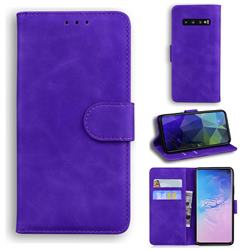 Retro Classic Skin Feel Leather Wallet Phone Case for Samsung Galaxy S10 (6.1 inch) - Purple