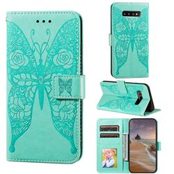 Intricate Embossing Rose Flower Butterfly Leather Wallet Case for Samsung Galaxy S10 (6.1 inch) - Green