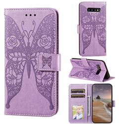 Intricate Embossing Rose Flower Butterfly Leather Wallet Case for Samsung Galaxy S10 (6.1 inch) - Purple