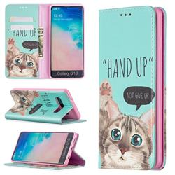 Hand Up Cat Slim Magnetic Attraction Wallet Flip Cover for Samsung Galaxy S10 (6.1 inch)