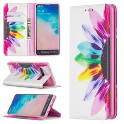 Sun Flower Slim Magnetic Attraction Wallet Flip Cover for Samsung Galaxy S10 (6.1 inch)
