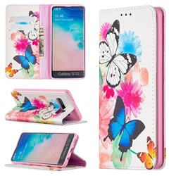 Flying Butterflies Slim Magnetic Attraction Wallet Flip Cover for Samsung Galaxy S10 (6.1 inch)