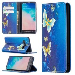Gold Butterfly Slim Magnetic Attraction Wallet Flip Cover for Samsung Galaxy S10 (6.1 inch)
