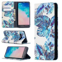Blue Leaf Slim Magnetic Attraction Wallet Flip Cover for Samsung Galaxy S10 (6.1 inch)