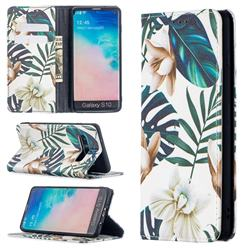 Flower Leaf Slim Magnetic Attraction Wallet Flip Cover for Samsung Galaxy S10 (6.1 inch)