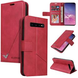 GQ.UTROBE Right Angle Silver Pendant Leather Wallet Phone Case for Samsung Galaxy S10 (6.1 inch) - Red