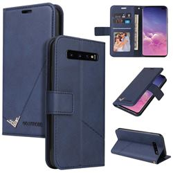 GQ.UTROBE Right Angle Silver Pendant Leather Wallet Phone Case for Samsung Galaxy S10 (6.1 inch) - Blue
