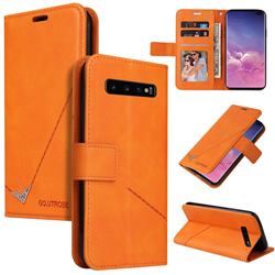 GQ.UTROBE Right Angle Silver Pendant Leather Wallet Phone Case for Samsung Galaxy S10 (6.1 inch) - Orange