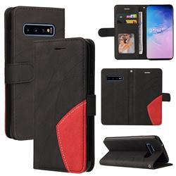 Luxury Two-color Stitching Leather Wallet Case Cover for Samsung Galaxy S10 (6.1 inch) - Black