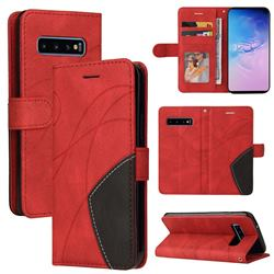 Luxury Two-color Stitching Leather Wallet Case Cover for Samsung Galaxy S10 (6.1 inch) - Red