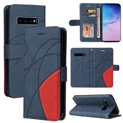 Luxury Two-color Stitching Leather Wallet Case Cover for Samsung Galaxy S10 (6.1 inch) - Blue