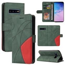Luxury Two-color Stitching Leather Wallet Case Cover for Samsung Galaxy S10 (6.1 inch) - Green