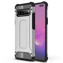 King Kong Armor Premium Shockproof Dual Layer Rugged Hard Cover for Samsung Galaxy S10 5G (6.7 inch) - White