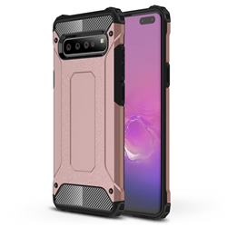 King Kong Armor Premium Shockproof Dual Layer Rugged Hard Cover for Samsung Galaxy S10 5G (6.7 inch) - Rose Gold