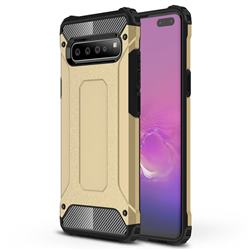 King Kong Armor Premium Shockproof Dual Layer Rugged Hard Cover for Samsung Galaxy S10 5G (6.7 inch) - Champagne Gold