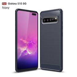 Luxury Carbon Fiber Brushed Wire Drawing Silicone TPU Back Cover for Samsung Galaxy S10 5G (6.7 inch) - Navy