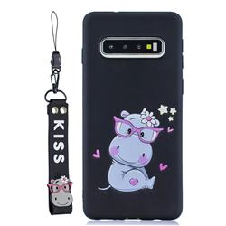 Black Flower Hippo Soft Kiss Candy Hand Strap Silicone Case for Samsung Galaxy S10 5G (6.7 inch)