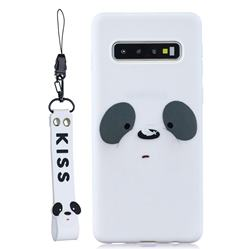 White Feather Panda Soft Kiss Candy Hand Strap Silicone Case for Samsung Galaxy S10 5G (6.7 inch)