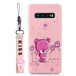 Pink Flower Bear Soft Kiss Candy Hand Strap Silicone Case for Samsung Galaxy S10 5G (6.7 inch)