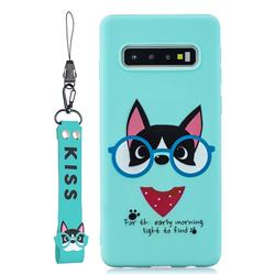 Green Glasses Dog Soft Kiss Candy Hand Strap Silicone Case for Samsung Galaxy S10 5G (6.7 inch)