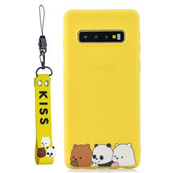 Yellow Bear Family Soft Kiss Candy Hand Strap Silicone Case for Samsung Galaxy S10 5G (6.7 inch)