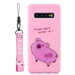 Pink Cute Pig Soft Kiss Candy Hand Strap Silicone Case for Samsung Galaxy S10 5G (6.7 inch)